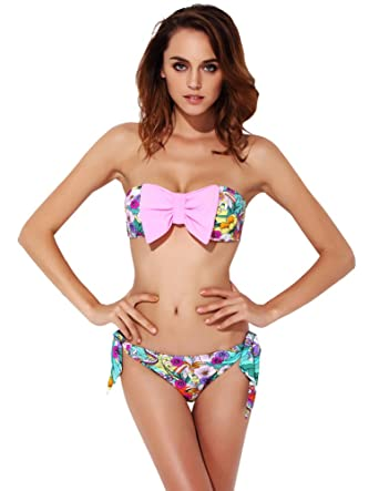59009993fc051 Amazon.com  SENFLOCO Cute Bow Tie Color Block Bikini Set Swimsuit ...