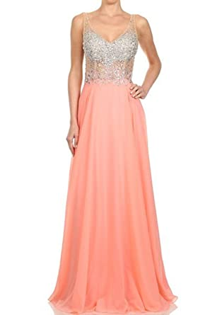 SeasonMall Womens V Neck Open Back Beading A-Line Chiffon Prom Dresses Orange Size 0