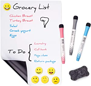 """Prefer Green Magnetic Dry Eraser White Board Sheet for Kitchen Refrigerator with Stain Resistant Technology, Organizer & Planner Whiteboard 12"""" X 8"""", Include 1 Eraser, 3 Markers & 6 Fridge Magnets"""