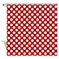 CafePress Red White Dots Pattern Shower Curtain