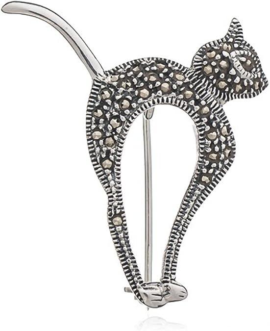 Gato con gatitos de plata de ley marcasita broche – estilo vintage broche/Clip – broche joyas: Amazon.es: Joyería