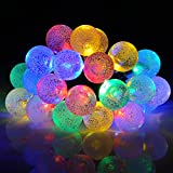 OMorc Solar String Lights,20ft 30 LED Crystal Ball Solar Powered Outdoor Globe Fairy Lights for Garden, Yard, Home, Path, Landscape Decoration