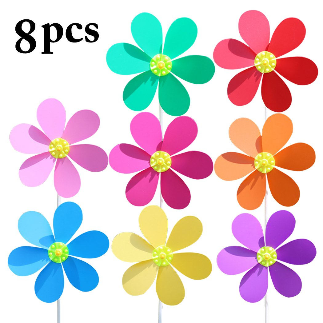 Fansport 8PCS Flower Pinwheel Garden Pinwheel DIY Wind Spinner Outdoor Party Decor