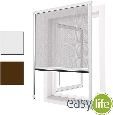Taille:100 x 160 cm Raccourcissable Montage sans percer EASY LIFE Moustiquaire Enroulable pour fen/être Easy Line avec Cadre en Aluminium Couleur:Blanc