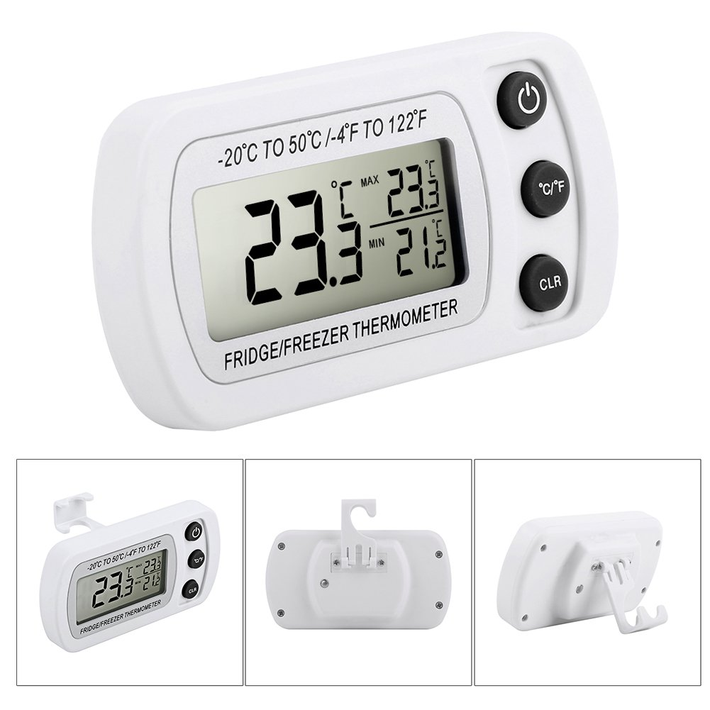 Fridge Thermometer, Glamouric Waterproof Digital Freezer Refrigerator Thermometer with LCD Display and Max/Min Function for Home Kitchen Restaurants Bars Cafes (White)