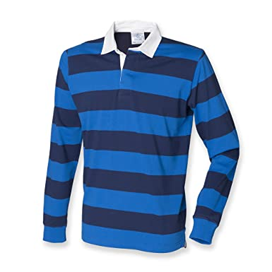 f43cfa2c819 Front Row Striped Rugby Shirt Mens Regatta Blue M: Amazon.co.uk: Clothing