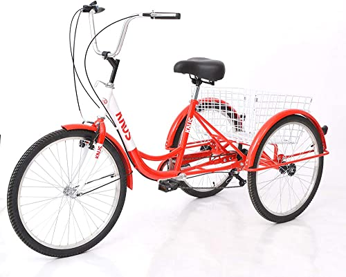 KUNS Adult Tricycle Trikes 7 Speed 3-Wheel Bikes,24 Inch Wheels Cruiser Bicycles with Large Shopping Basket
