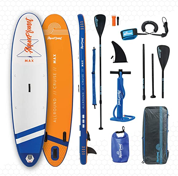 Aquaplanet 10ft 6 x 15cm MAX Stand Up Paddle Board kit. Air Pump with Pressure Gauge,Adjustable Aluminium Floating Paddle, Repair Kit,Heavy Duty Rucksack,Premium Leash 4 Kayak Seat Rings