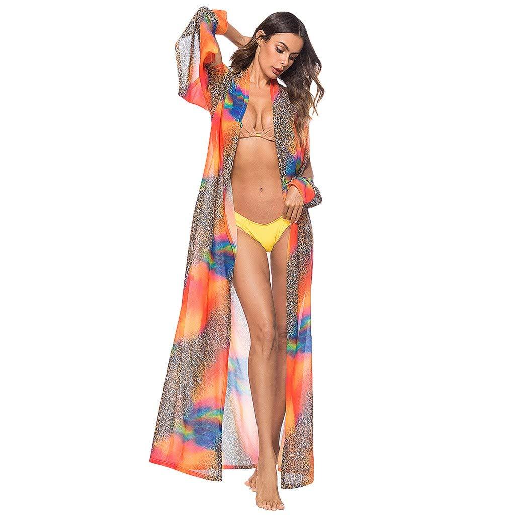 Women's Long Sleeve Casual Leopard Print Loose Beach Smock Tops Dress Cardigan Orange by LOOKAA