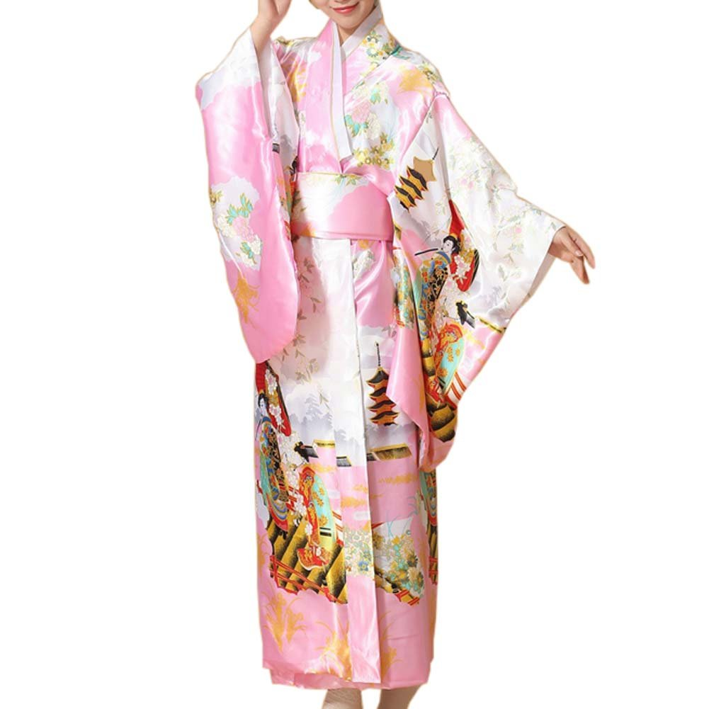 FANCY PUMPKIN Japanese Floral Printed Kimono Yukata Cosplay Ladies Party Nightwear A Cl0-1680