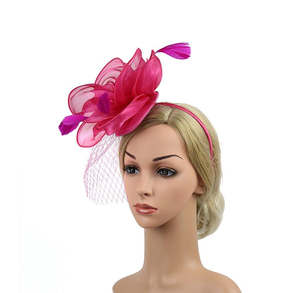 Song Qing Fascinator Women Ladies Silk Yarn Feather Hair Hoop Cocktail Party Wedding Sinamay Headband