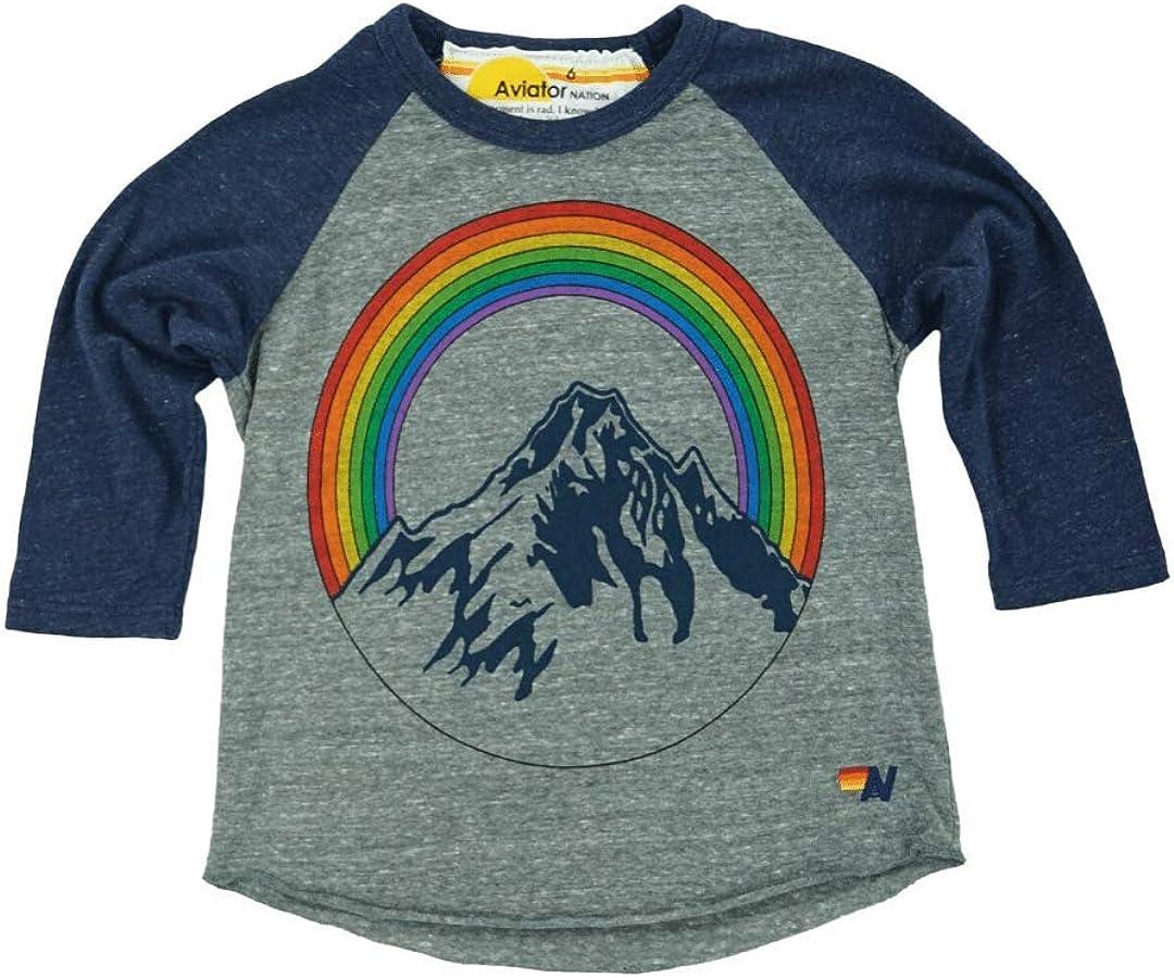 Aviator Nation Kids Kid's Mountain Rainbow Baseball T-Shirt - Heather