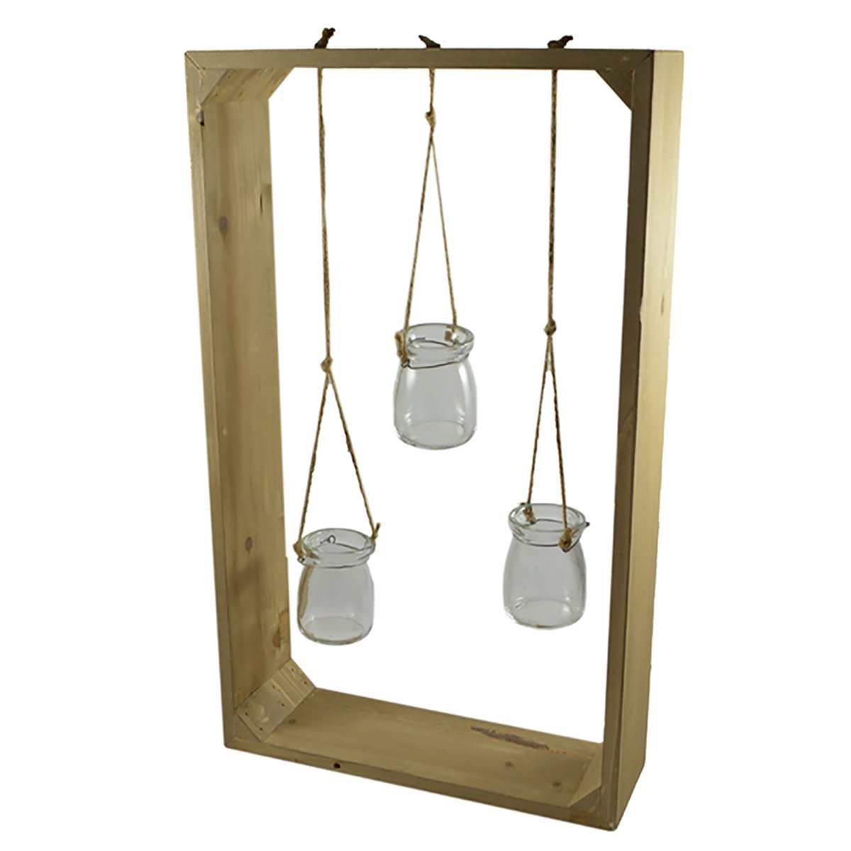 1pce Large Framed Mini Plant Terrarium Jars Hanging in Stand-50Cm X 30Cm 3Pce by Art Supplies and Home