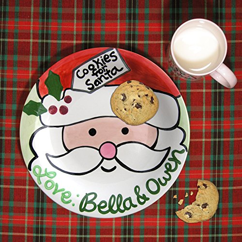 Cookie for Santa Plate, Personalized Santa Plate, Hand painted ceramic plate, Little Worm and Company