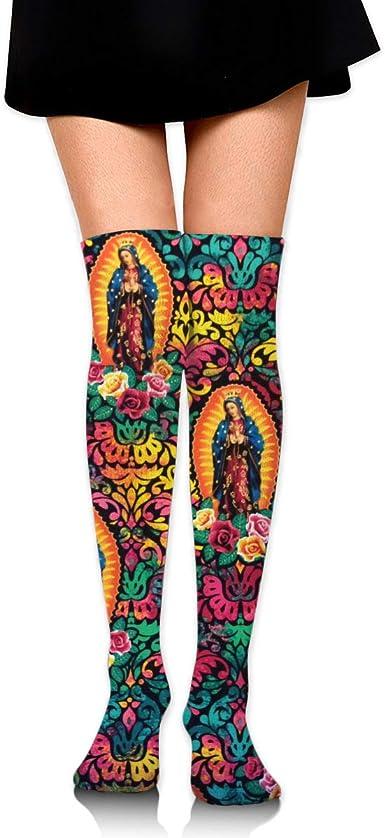 Womens Knee High Socks Virgin Mary Religious Catholic Long Socks For Women 2 Pairs Best For Flight Travel
