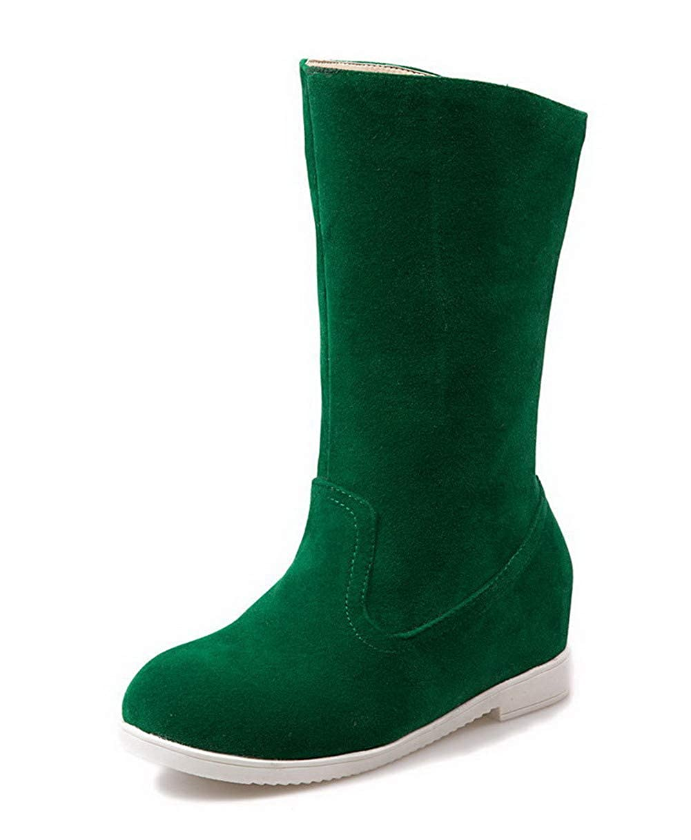 AllhqFashion Womens Low-Top Solid Pull-On Round-Toe Kitten-Heels Boots FBUXD021219