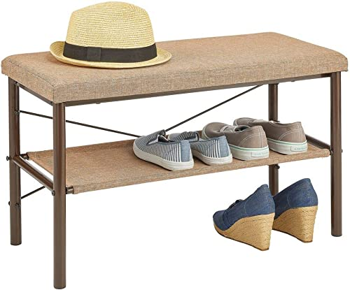 mDesign Entryway Bench with Shoe Shelf, Space-Saving Holder for Wedges, Flats, Sneakers – Top Bench – Sleek, Modern Design, Sturdy Steel Construction – Espresso Brown Brown