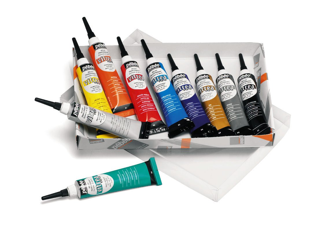 Pebeo Vitrea 160, Set of 10 Assorted Glass Paint Outliners, 20 ml Tubes by PEBEO