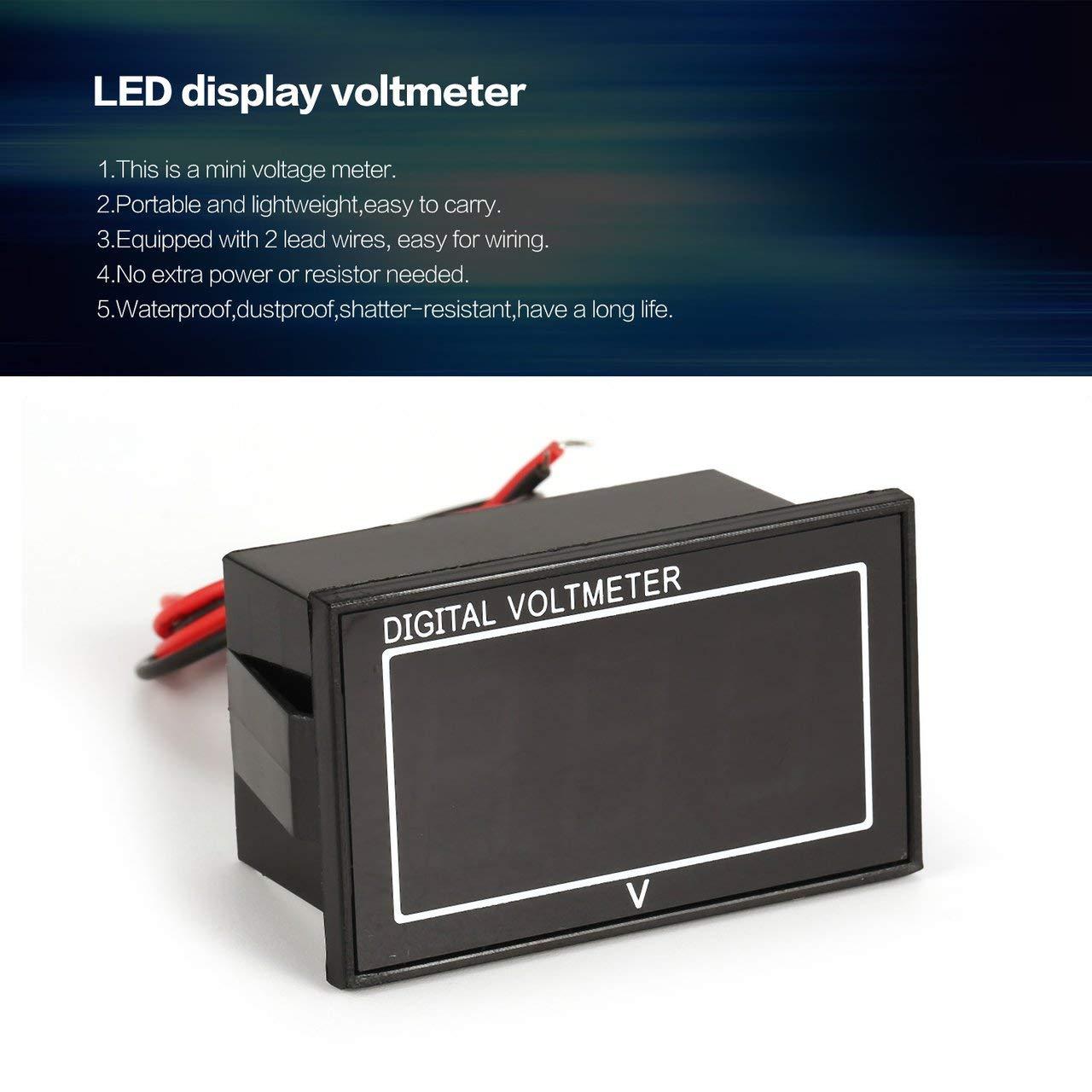 Jasnyfall 2.5-30V a mené la lumière rouge automatique de voiture d'appareil de contrôle de tension de voltmètre de voltmètre de panneau d'affichage numérique