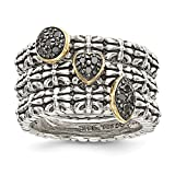 Sterling Silver With 14k 1/20ct. Black Diamond 3 Stackable Rings - Size 7