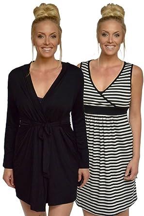 75d1656f0a003 Baju Mama Jane 2-Pc. Modal Nursing Chemise & Robe Set at Amazon Women's  Clothing store: