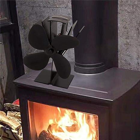 CARTEY Ventilador de Estufa de leña, 4 Cuchillas Ventiladores de Estufa con Motor térmico Operación silenciosa para Madera/Estufa de leña/Chimenea - Eco amigable ...