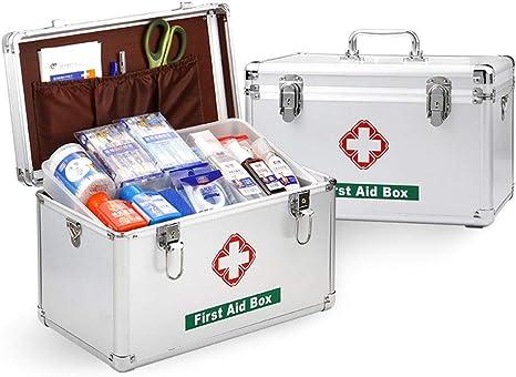 Massage-AED Contenedor de medicamentos Botiquín de Emergencia para la Oficina en el hogar, Caja de Primeros Auxilios para el hogar Estuche de Aluminio para Primeros Auxilios: Amazon.es: Deportes y aire libre