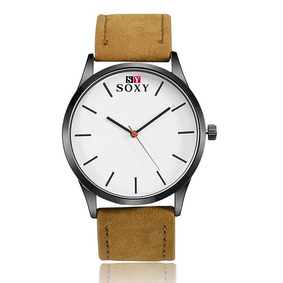 nicerio Hombre Quartz Relojes con banda de piel simple atemporal Analog Reloj de pulsera (marrón