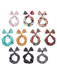 BMC 10 Pack Women's Flexible Wire Bunny Ear Head Band Hair Wrap Bow Pin Up Girl