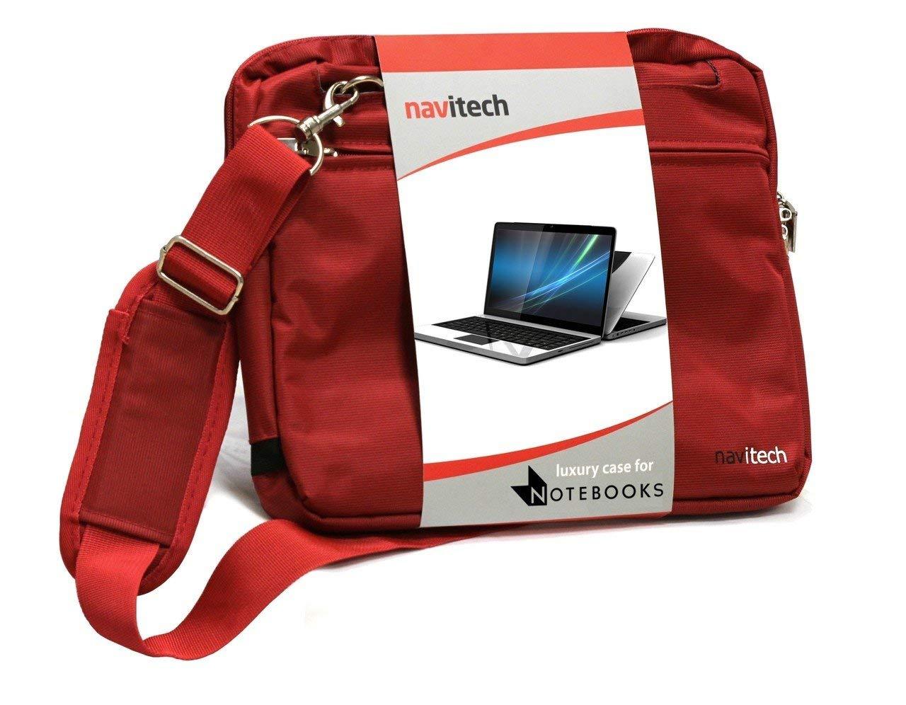 Navitech レッド スリーク プレミアム 防水 衝撃吸収 キャリーバッグ ケース ASUS Vivobook S15 S530 / ASUS Zenbook 13 UX331 / ASUS Zenbook 13 UX333に対応   B07NCZBRKS