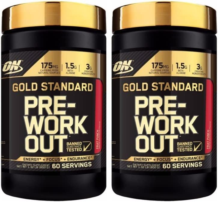 Optimum Nutrition Gold Standard Pre-Workout Supplement Fruit Punch Pack of 2