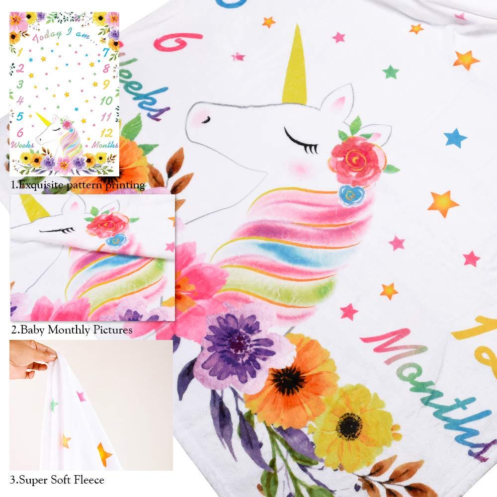 150 x 100 cm Neugeborene Monatliche Milestone Decken Blumenfotografie Hintergrund Requisiten Flanell Bettdecke WERNNSAI Einhorn Baby Meilenstein Decke f/ür M/ädchen