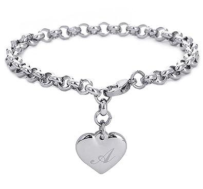 Amazon monily initial charm bracelets stainless steel heart 26 monily initial charm bracelets stainless steel heart 26 letters alphabet bracelet for women mozeypictures Images