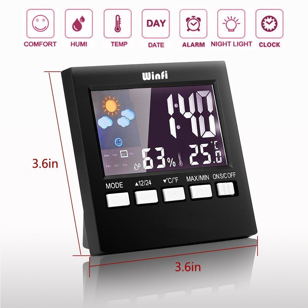 Winfi Digital Indoor Weather Thermometer, Weather Station, Weather Channel Thermometer, Temperature and Humidity Monitor with Alarm Clock, Time Date and Night Lighting LCD Screen Displaying,Black by Winfi (Image #2)