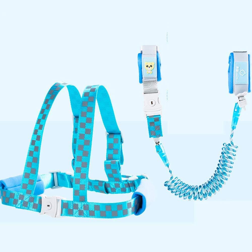Airhtry-1982 Blue Plaid 2.0m with Bracelet Belt Dual-use Key Reflective Anti-Lost Bracelet, Guarding The Child's Family's Traction Bracelet (Color : Blue, Size : 1.5m)