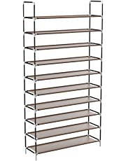 Sable Shoe Rack, 10-Tier Shoe Storage for 50 Pairs of Shoes, Tall Shoe Organiser with Waterproof Fabric Tiers, 175 x 100 x 27 cm