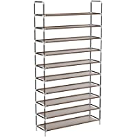 Sable 10 Tiers Shoe Rack 50 Pairs Non-Woven Fabric Shoe Tower Organizer with Spare Parts, 68'' x 39'' x 10'', DIY Assembly-No Tools Required