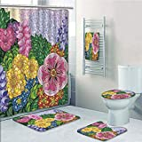 Bathroom 5 Piece Set shower curtain 3d print Customized,Colorful Home Decor,Gradient Dash Sea Shell Inspired Wavy Dimension Palette Stripes Artisan,Multi,Bath Mat,Bathroom Carpet Rug,Non-Slip,Bath Tow