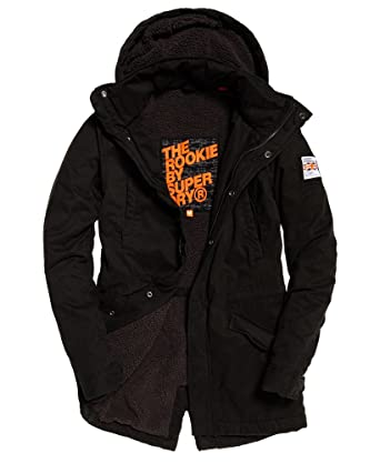 Superdry Mens Rookie Military Parka Jacket Bitter Black