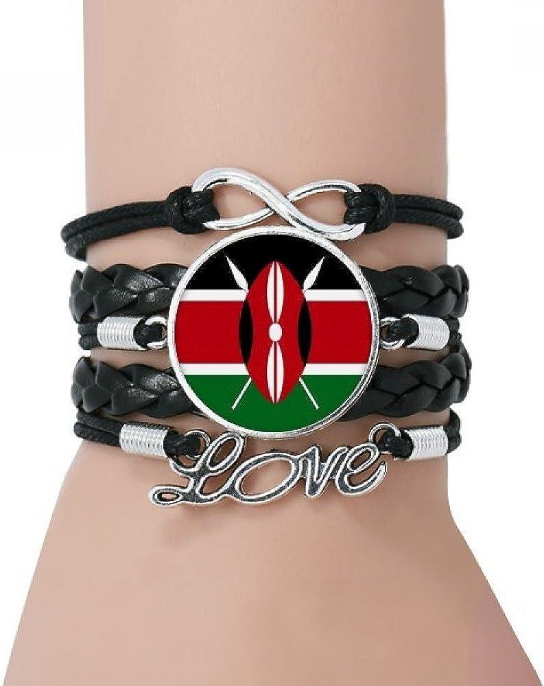 DIYthinker Kenia África la Bandera Nacional de Pulsera Negro País retorcido Amor Pulsera de Cuero de la Cuerda: Amazon.es: Joyería