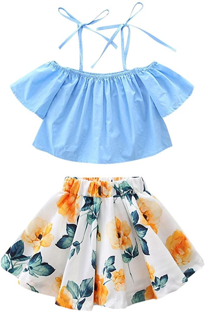 Gonna Floreale Outfits Set Mecohe Bambino Ragazze Cinghia Senza Spalla Maglietta