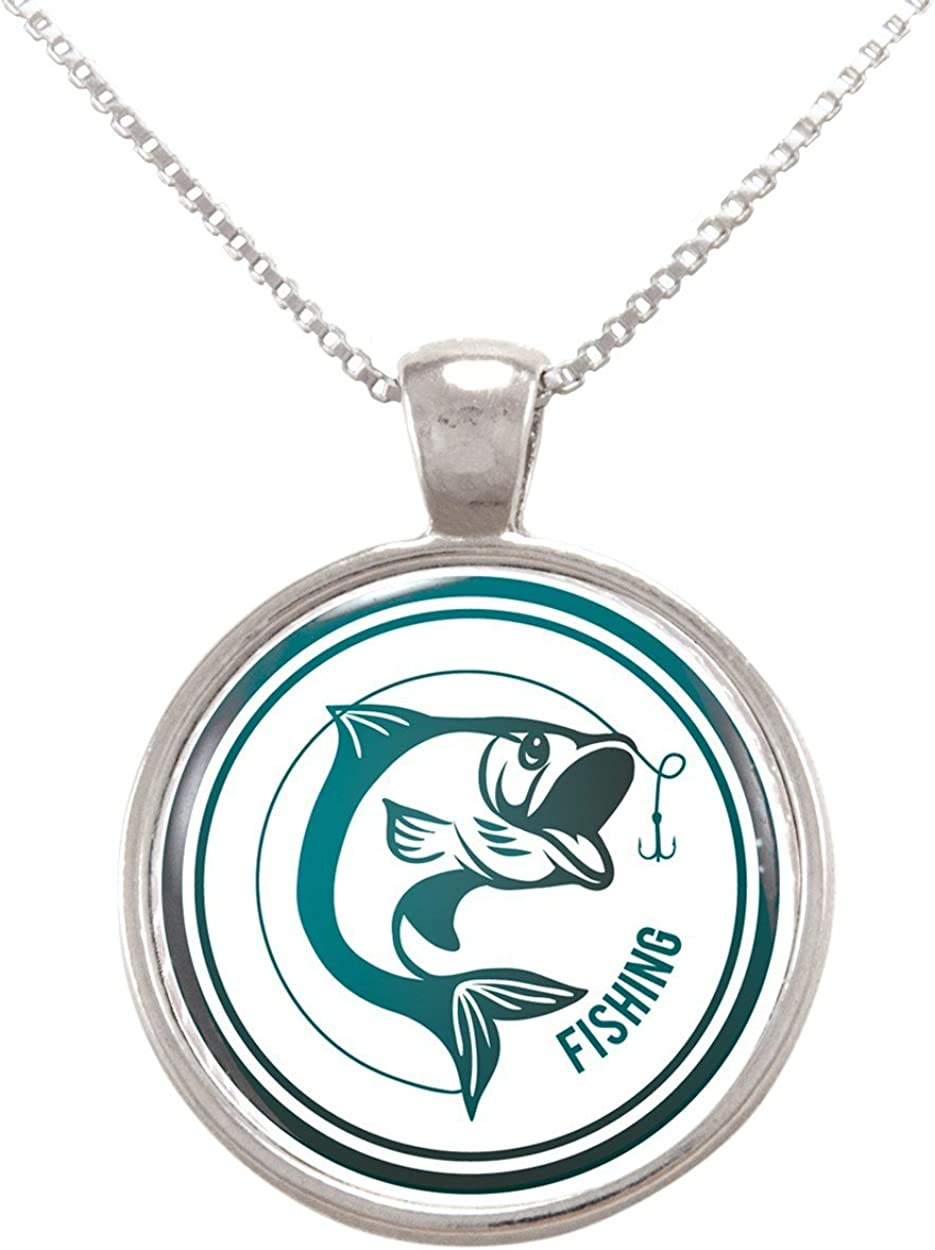 Arthwick Store Fishing Button Illustration with Fish and Lure Pendant Necklace