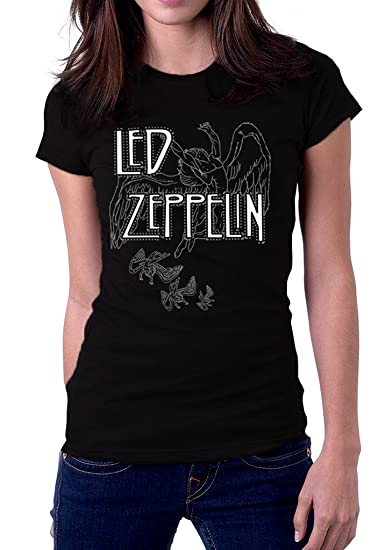wide varieties get new super popular EmoBug Led Zeppelin 1977 Logo Women's T-Shirt Small Black