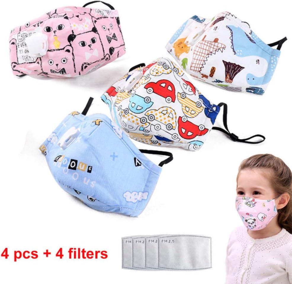 LANSHUYING 4 Piezas de Papel de Filtro de la válvula de respiración de la máscara de Dibujos Animados de algodón PM2.5 Anti-contaminación Infantil para niños