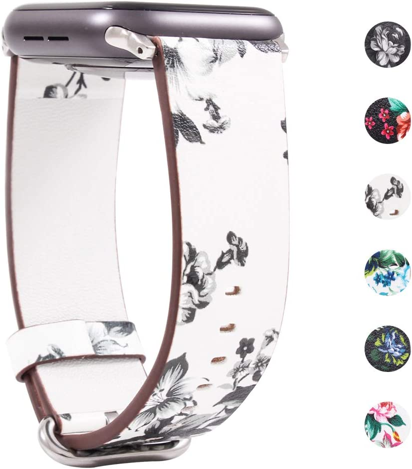 Yimitree Band Compatible with Apple Watch 38MM/40MM/42MM/44MM,Floral Paragraph Leather Replacement Strap Compatible with Apple iWatch Series 5 4/3/2/1 (Style 11, 38MM-40MM)