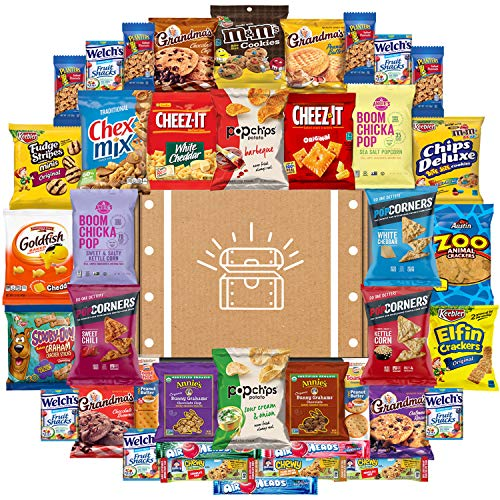 Snack Chest Snacks Care Package Gift Assortment Sampler Mixed Bars, Cookies, Chips, Candy for Office, Military, College, Meetings, Schools, Friends & Family (40 Count)