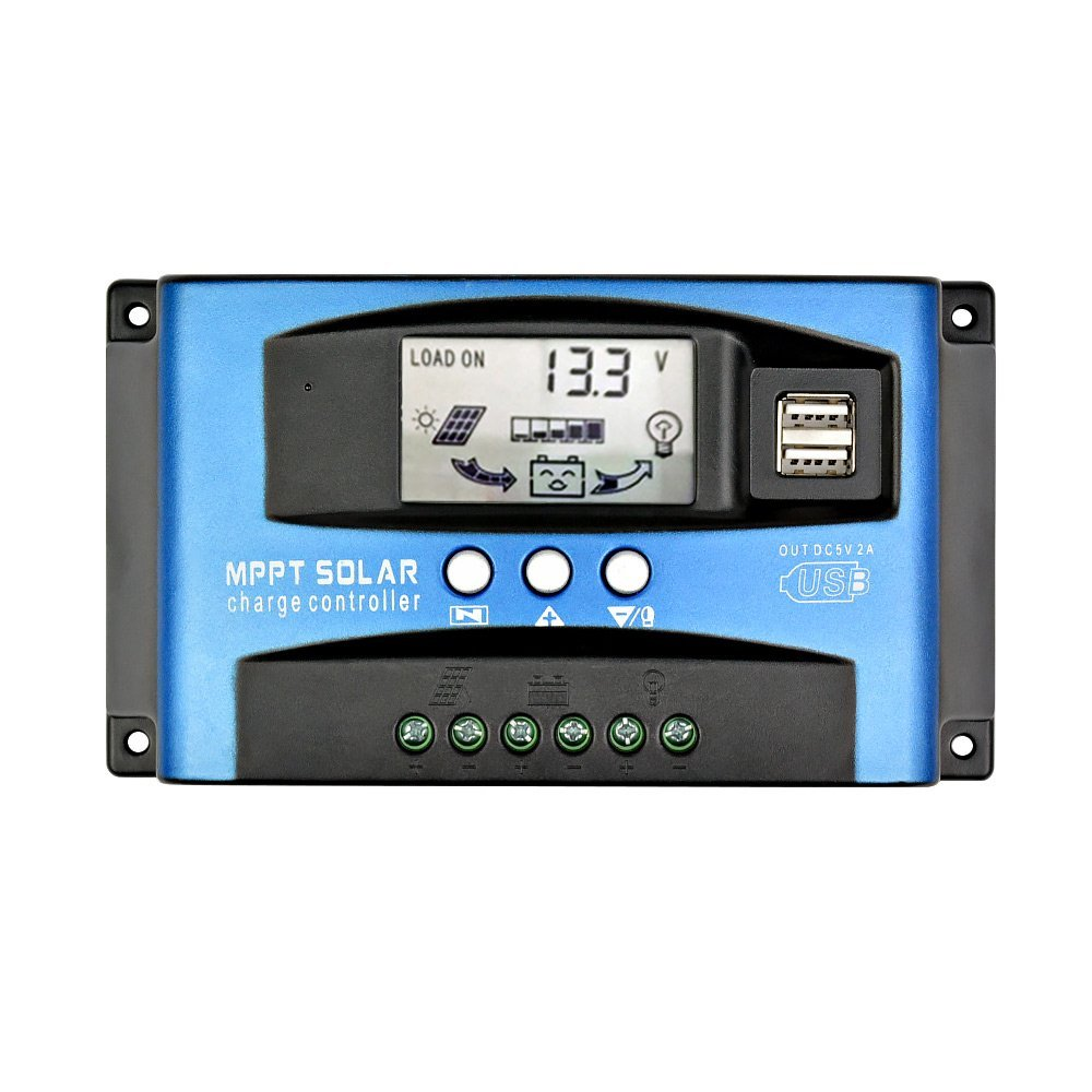 AOSHIKE 60A MPPT Solar Charge Controller LCD Display,Multiple Load Control Modes (60A)