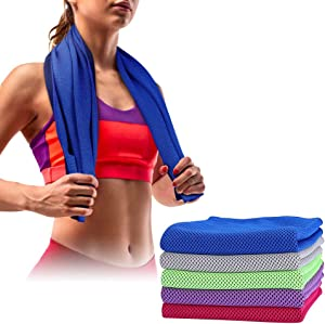 SKL Cooling Towel 5 Packs Sports Towels Stay Cool Towel for Sports, Swimming, Women, Yoga, Workout, Athletes, Gym, Neck, Golf, Travel 40 x 12 inch (Blue-Red-Green-Purple-Grey)