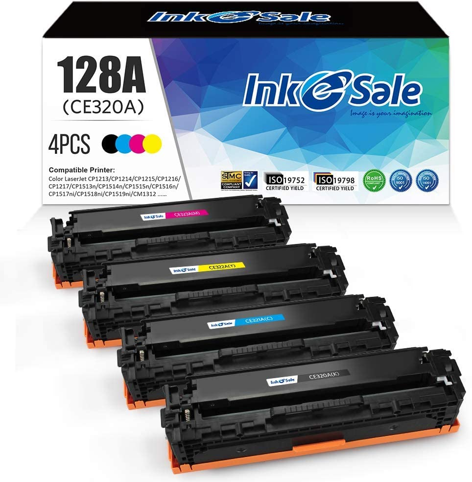 INK E-SALE Remanufactured Toner Cartridge Replacement for 128A CE320A CE321A CE322A CE323A Canon 116, for use with Color Laserjet CP1525n CP1525nw CM1415fn CM1415fnw, 4 Pack