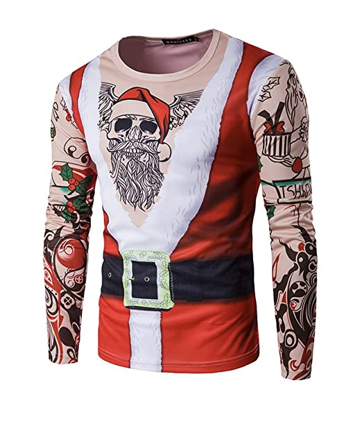 Hombres Navidad Printing Top Papá Noel Impresa Manga Larga Camiseta Blusa M